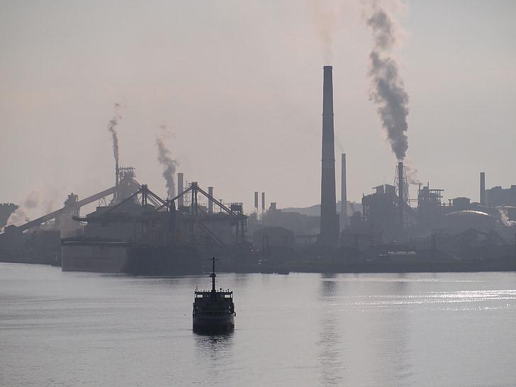 โรงงาน, ปล่องไฟ, มุโระรัง, เครื่องจักร, ทะเล, พอร์ต, เรือ