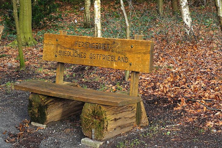 rest, resting place, bank, wood, nature, sit
