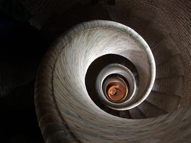arkitektur, Spiral trapper, Trinn, trapper, spiraltrapp, trapp, stein