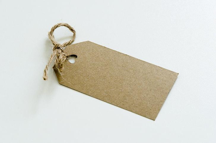étiquette, Kraft, papier Kraft, balise, brun, papier, modèle