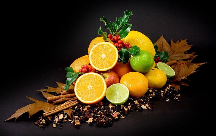 colors, fruites, cítrics, llimona, vitamines, Sa, taronja
