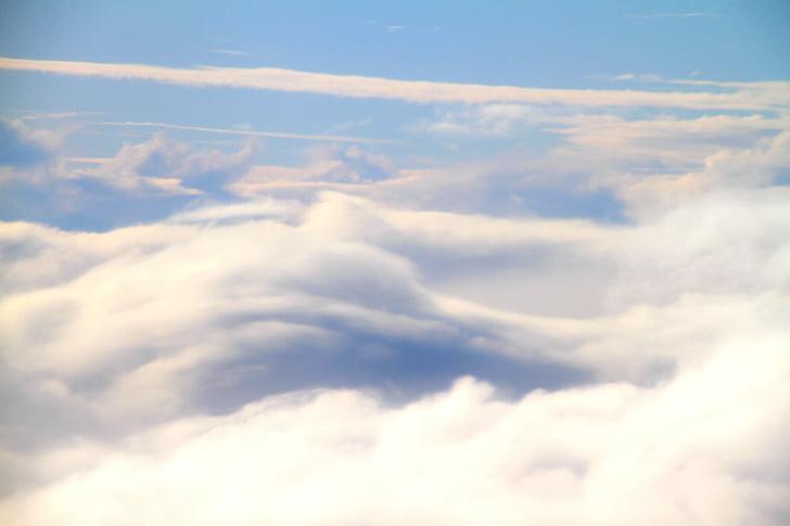céu, nuvens, aviões, natureza, beleza na natureza, nuvem - céu, scenics