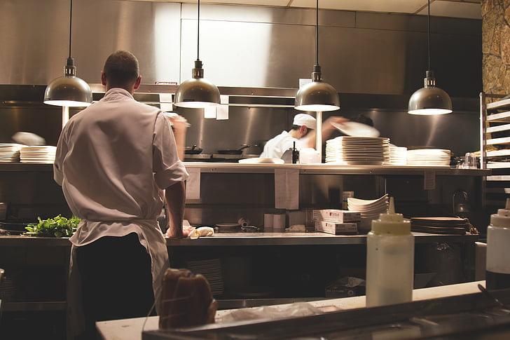 Koch, Kochen, Kochen, Köche, Lebensmittel prep, Küche, Linie Koch
