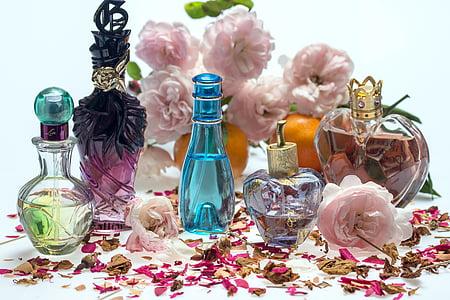 bodegons, Roses, Perfum, ampolles per perfumeria, fragància, pètals de Rosa, aromateràpia