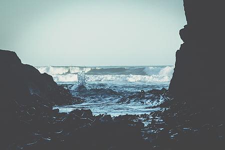 strand, kust, natuur, Oceaan, buitenshuis, rotsen, zee