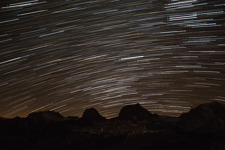 Star trail, Star, himmelen, fjell, stjernehimmelen, natt, nattehimmelen