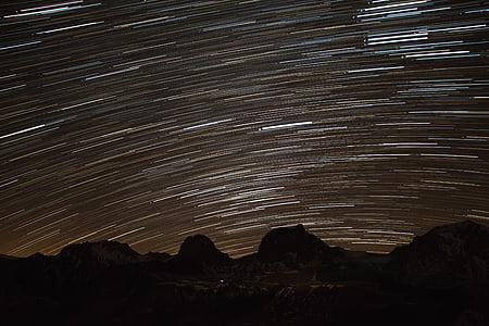 звезда пътека, звезда, небе, планини, звездното небе, нощ, нощното небе