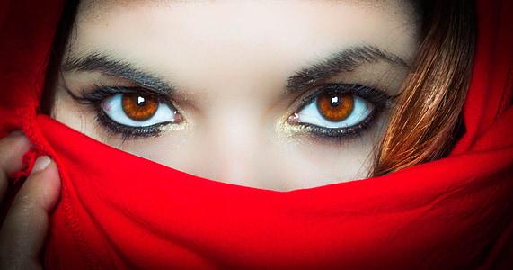 portrait, look, red, scarf, mystery, hidden, eyes