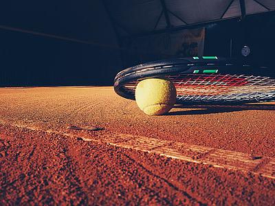 Tennis de, Raqueta, cort, argila, pilota, esports, gimnàs