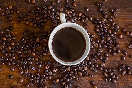 Kawa, filiżanka kawy, Puchar, czarny, Kawiarnia, Kofeina, napój