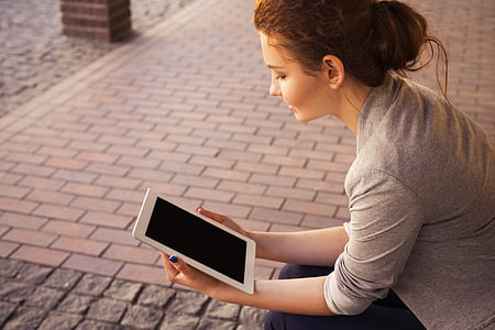 girl, ipad, mockup, tablet, woman