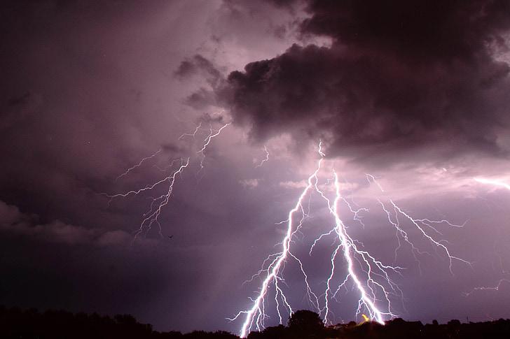 llamp, núvols, tempesta, temps