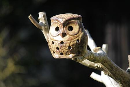 бухал, керамични сова, гнездене кутия, птица, птици, животните, очите