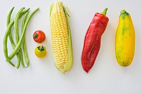 豆, トウモロコシ, 新鮮です, ヘルシー クッキング, 有機食品, コショウ, トマト