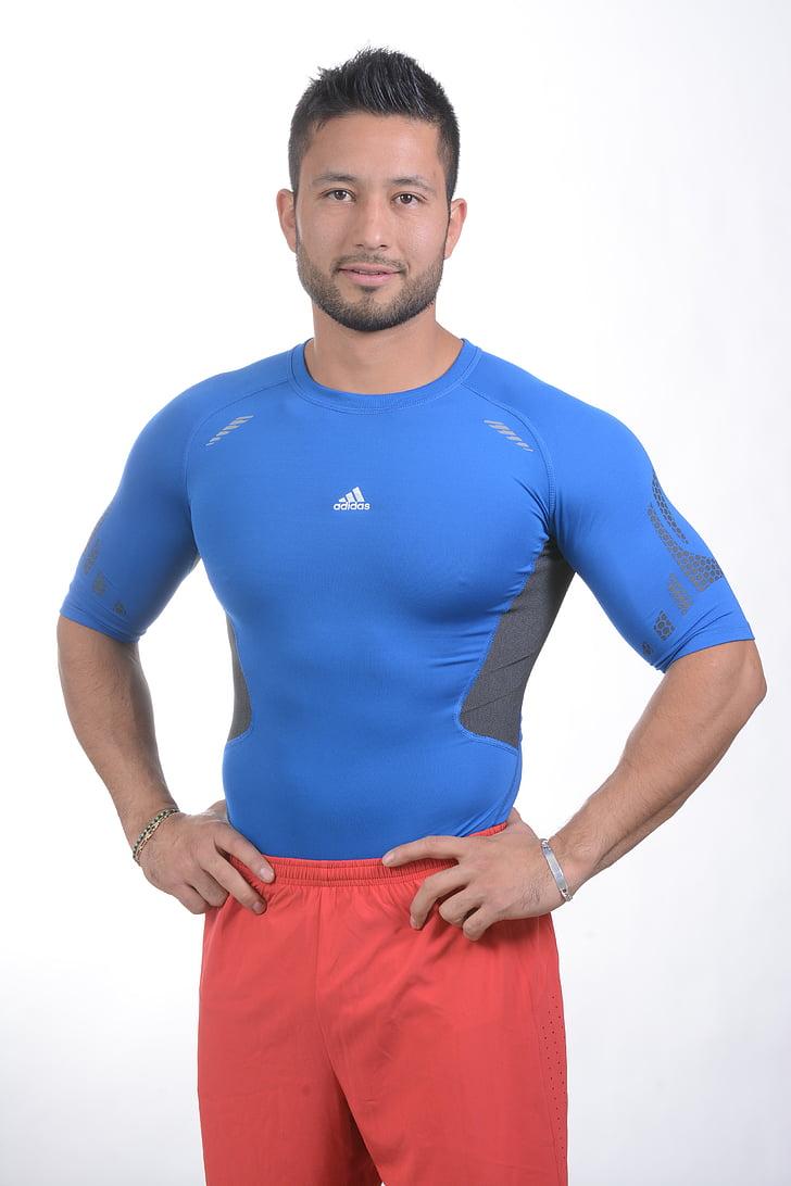 desporto, aptidão, exercício, Pilates, homem de rosto, homem de corpo, corpo