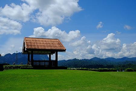 modrá obloha, živej sky, zelená tráva, Vonkajší cestovanie