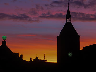 Alba, l'església, Steeple, cel, núvols, morgenstimmung, cels