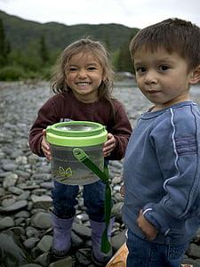 river, fishing, day, enjoying, young, two, kids