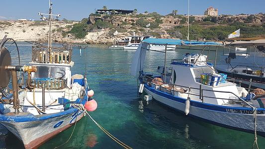 boot, sea, port, ship, fischer, water, cyprus