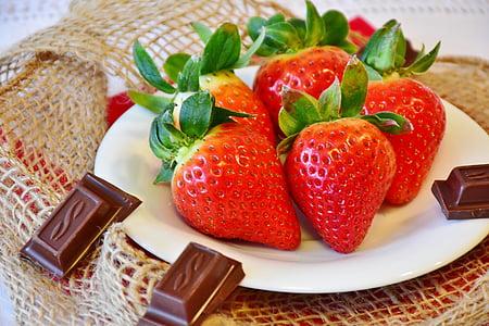 Суниця, шоколад, фрукти, закрити, фрукти, червоний, Солодкий