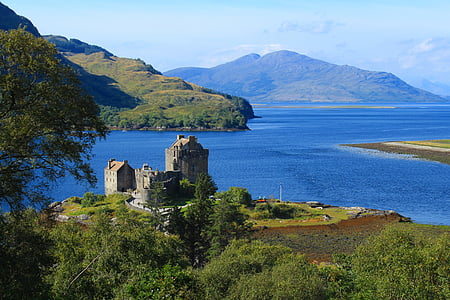 scotland, highlands and islands, castle, sea, mountains, landscape