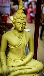 Buddha, Buddha galvu, klosteris, Budisms, statuja, Zelts, kultūra