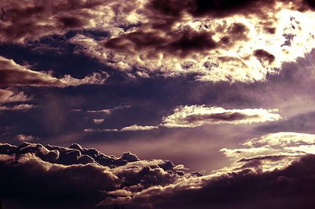 awan, dramatis, langit, awan langit, awan langit, biru, Cuaca