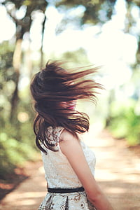女孩, 头发, 白色, 穿衣服, 女性, 日落, 风格