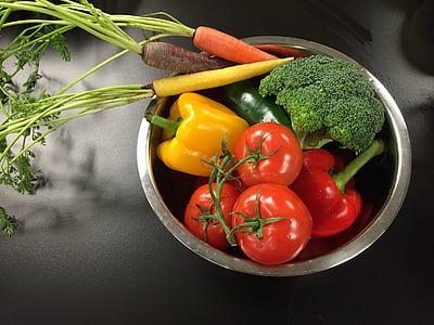 dārzeņi, dzeltena, oranža, pārtika, zaļa, sarkana, svaigu