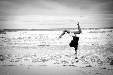 stranden, gymnastikk, jente, bølger, hav, Fitness, livsstil