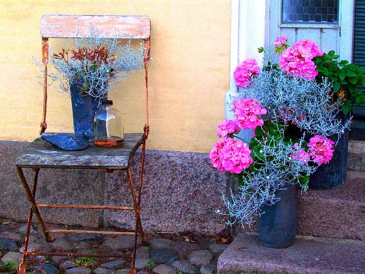 régi szék, virágok, néma, többi, gyönyörű, idill, Relax