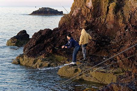 fishing, fishermen, anglers, boy, man, fishing rods, sea