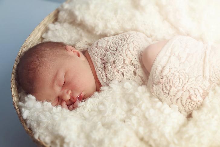 sleeping, newborn, baby, infant, new, blanket, child