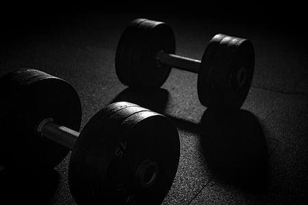 hantele, Sports, svars, stiprums apmācībā, svars pacelšanas, muskuļi, muskuļu mācību