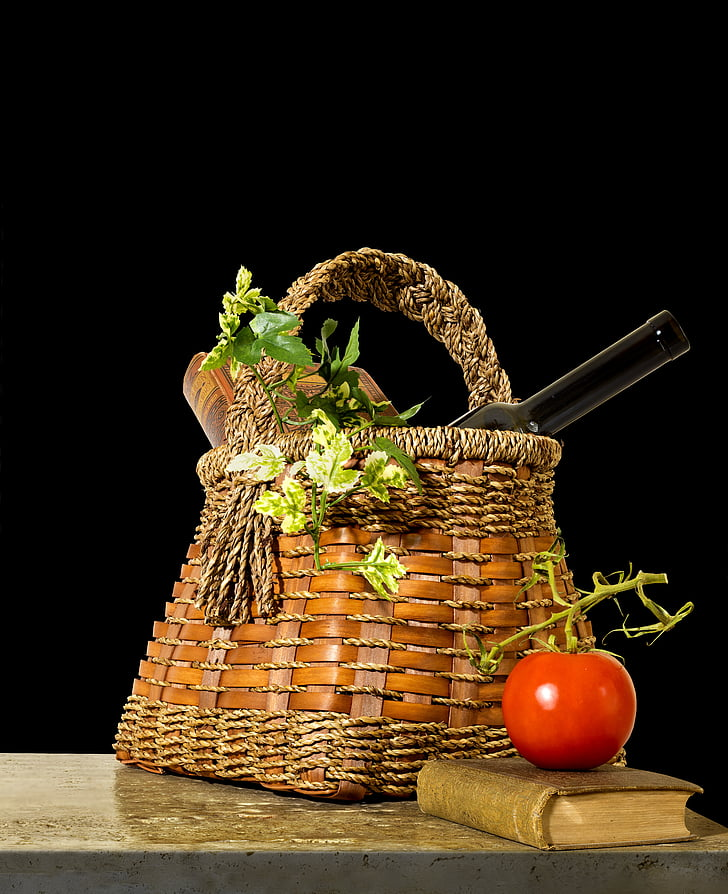still life with basket, still life, basket, tomato, leaves, book, food