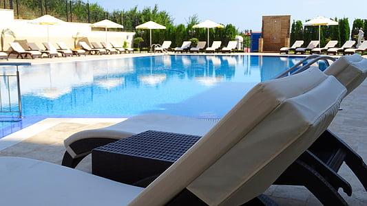 basseng, Bulgaria, recliner, svømmebasseng, ved bassenget, vann, turiststed