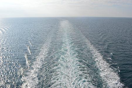 fartygets kölvatten, kryssningsfartyg, havet, fartyg, kryssning, Porto, Costa