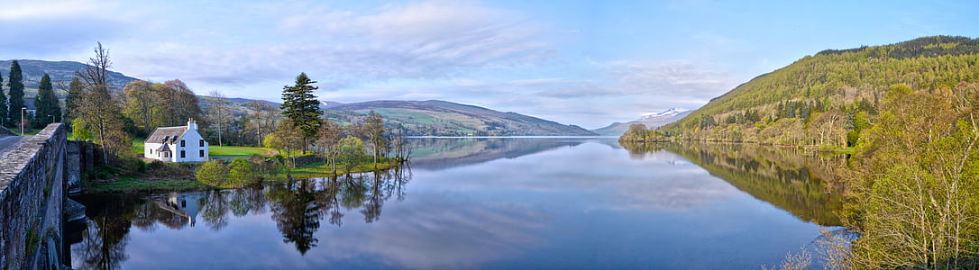hills, landscape, outdoors, panoramic, reflection, river, scenic