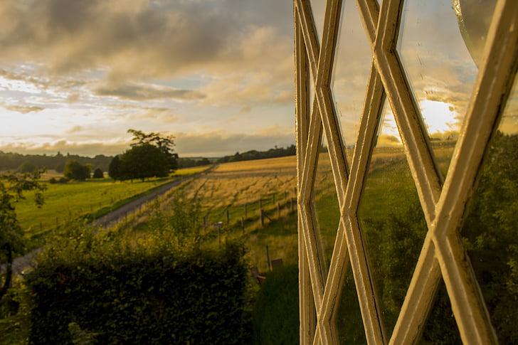modo de exibição, fazenda, pôr do sol, sol, campo, Inglaterra, idílio