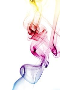 røyk, farget, abstrakt, regnbue, røkelse, bakgrunn, hvit