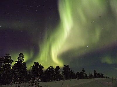 aurora borealis, Finland, Inari, grøn farve, Aurora polaris, nat, skønhed i naturen