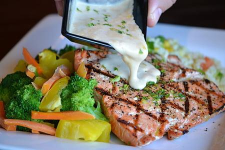 salmó, aliments, Sa, sopar, àpat, marisc, Restaurant
