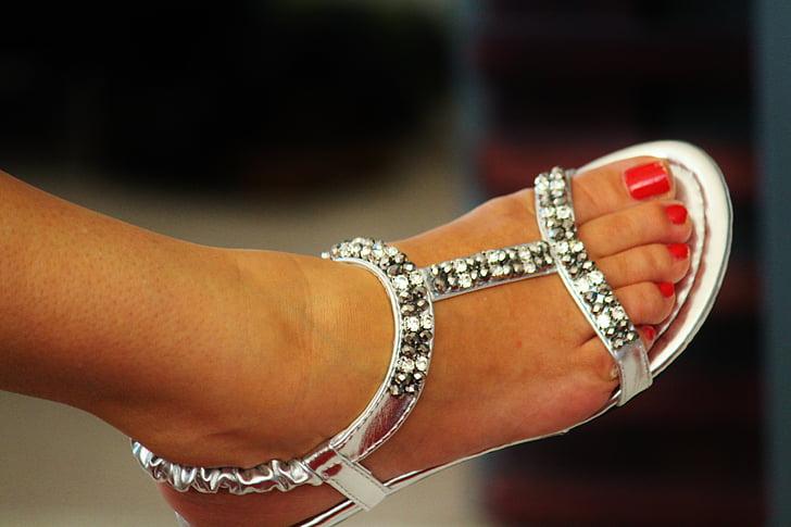 Sandal, pēda, sievietes mutes, kurpes, Silver, pirksta naglas, sarkana