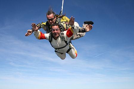 paracaigudisme, esport, extrem, escapament, cel, bellesa, duet