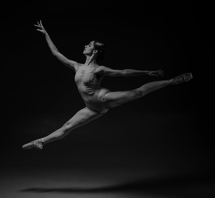 harmaasävy, kuva, ballerina, täyspitkä, taito, baletti, Grace
