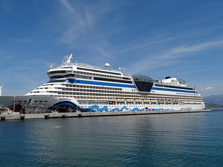 Aida, fartyg, kryssning, Holiday, hamn, vatten, havet