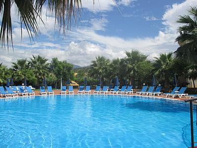 Yüzme Havuzu, Havuzu, otel dolcestate, palmiye ağaçları, Resort, otel, Yaz