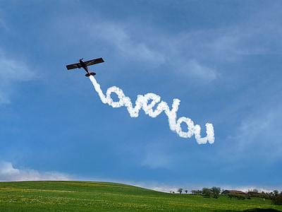 volim te, oblaci, plava, fonta, ljubav, zrakoplova, zauvijek