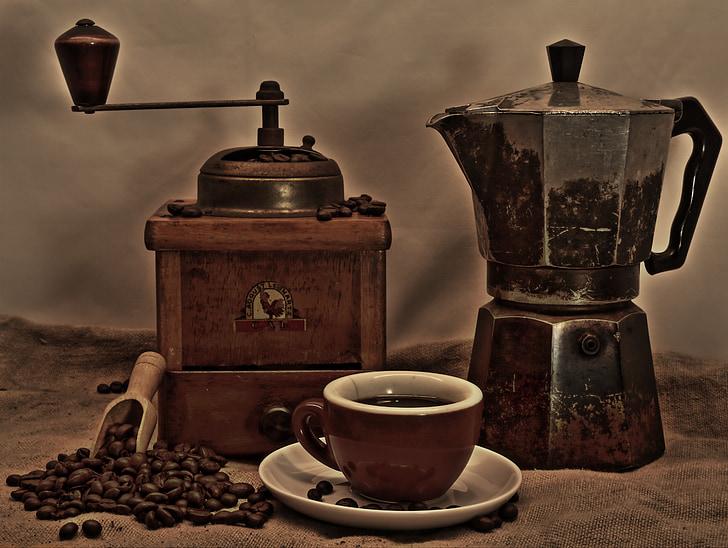 kaffe, kaffekopp, vinkelsliper, Cup, kaffe skum, kaffebønner, kafé