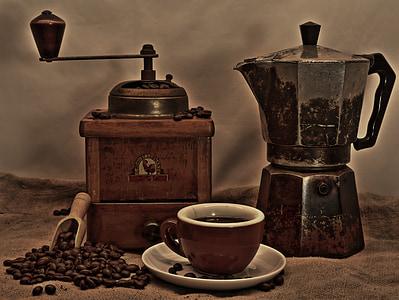cafè, tassa de cafè, molinet, Copa, escuma de cafè, grans de cafè, cafeteria